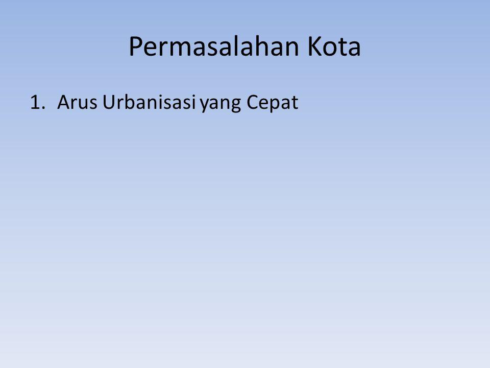 Permasalahan Kota-Urbanisasi Urbanisasi: persentase penduduk yang tinggal di daerah perkotaan (tjiptoheriyanto, 2000) Survey penduduk antar sensus (Supas) – Tahun 1980: tingkat urbanisasi di Indonesia 22,4 %→ 22,4% penduduk Indonesia tinggal di perkotaan – Tahun 1995: tingkat urbanisasi di indonesia 35,91%→ 35,91% penduduk Indonesia tinggal di perkotaan