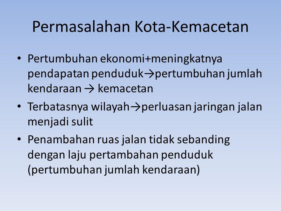 Permasalahan Kota-Kemacetan Pemerintah tidak mampu menyediakan sarana transportasi umum dan massal yang memadai→masyarakat lebih nyaman menggunakan kendaraan pribadi Kasus Jakarta: – pembangunan kota-kota satelit di sekitar Jakarta tidak memecahkan masalah – Penduduk kota satelit justru mencari penghidupan di Jakarta