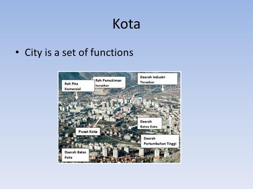 Kota dan Perkotaan Kawasan perkotaan (urbanized area): wilayah yang secara fungsional menunjukkan ciri-ciri kota (padat, dominasi non-pertanian, infrastruktur lengkap) Daerah kota (city region) wilayah dengan batasan administratif dinyatakan sebagai kota dan dilengkapi dengan kelengkapan fungsi pemerintahan