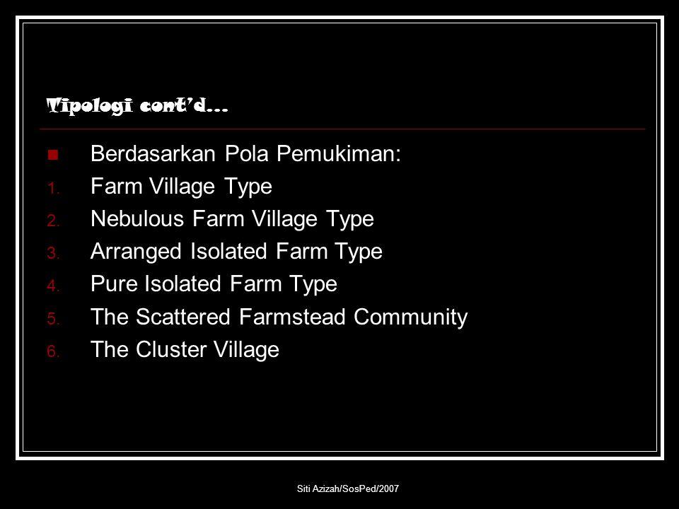 Siti Azizah/SosPed/2007 Tipologi cont'd… Berdasarkan Pola Pemukiman: 1. Farm Village Type 2. Nebulous Farm Village Type 3. Arranged Isolated Farm Type