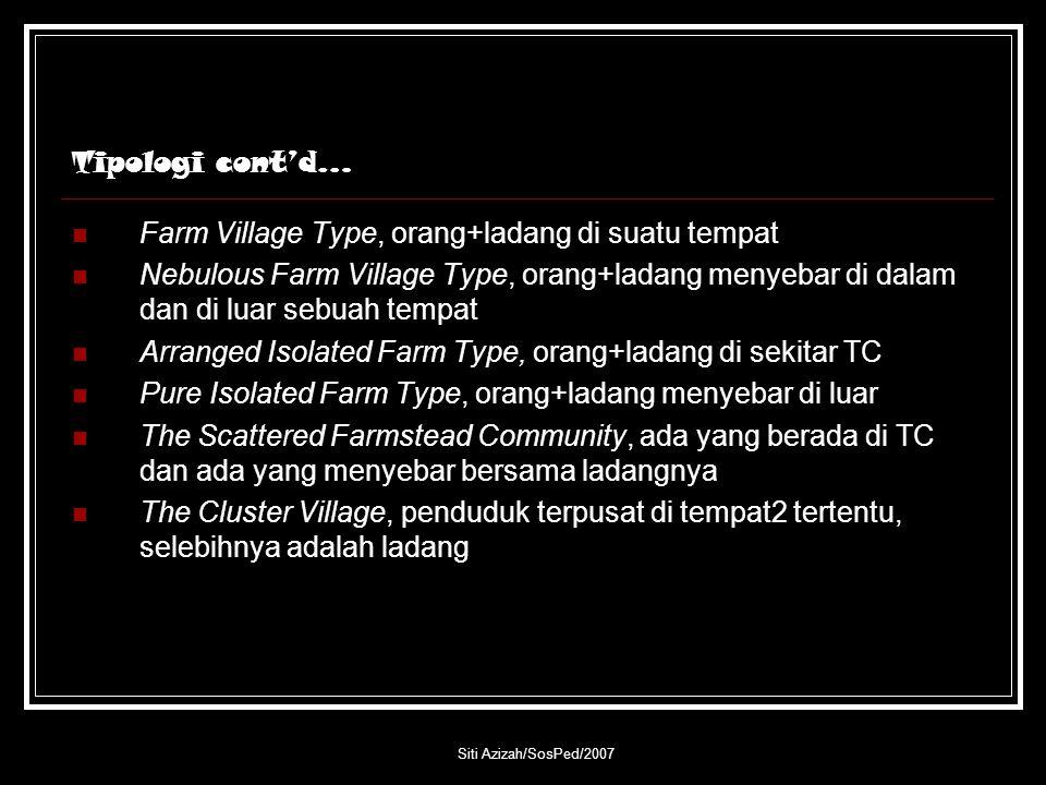 Siti Azizah/SosPed/2007 Tipologi cont'd… Farm Village Type, orang+ladang di suatu tempat Nebulous Farm Village Type, orang+ladang menyebar di dalam da