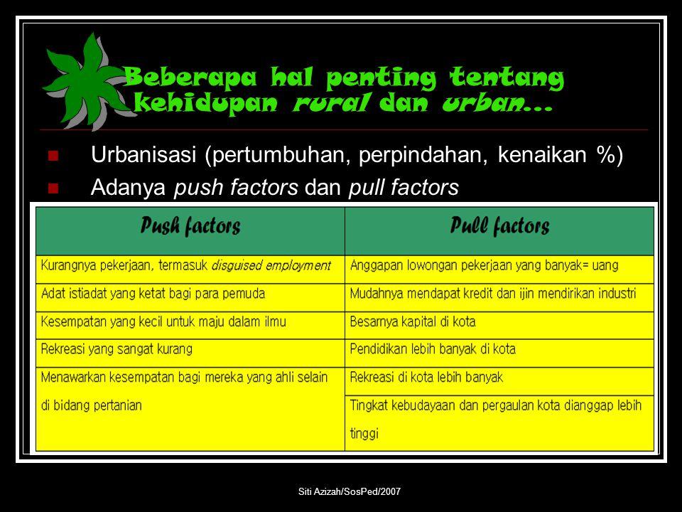 Siti Azizah/SosPed/2007 Beberapa hal penting tentang kehidupan rural dan urban… Urbanisasi (pertumbuhan, perpindahan, kenaikan %) Adanya push factors