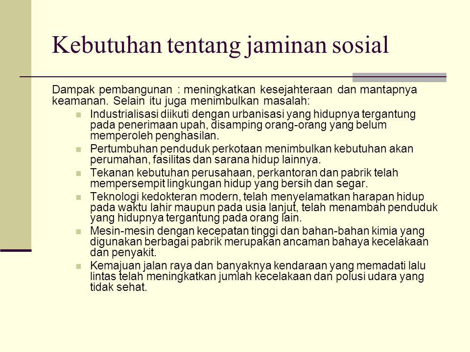 Kebutuhan tentang jaminan sosial Dampak pembangunan : meningkatkan kesejahteraan dan mantapnya keamanan.