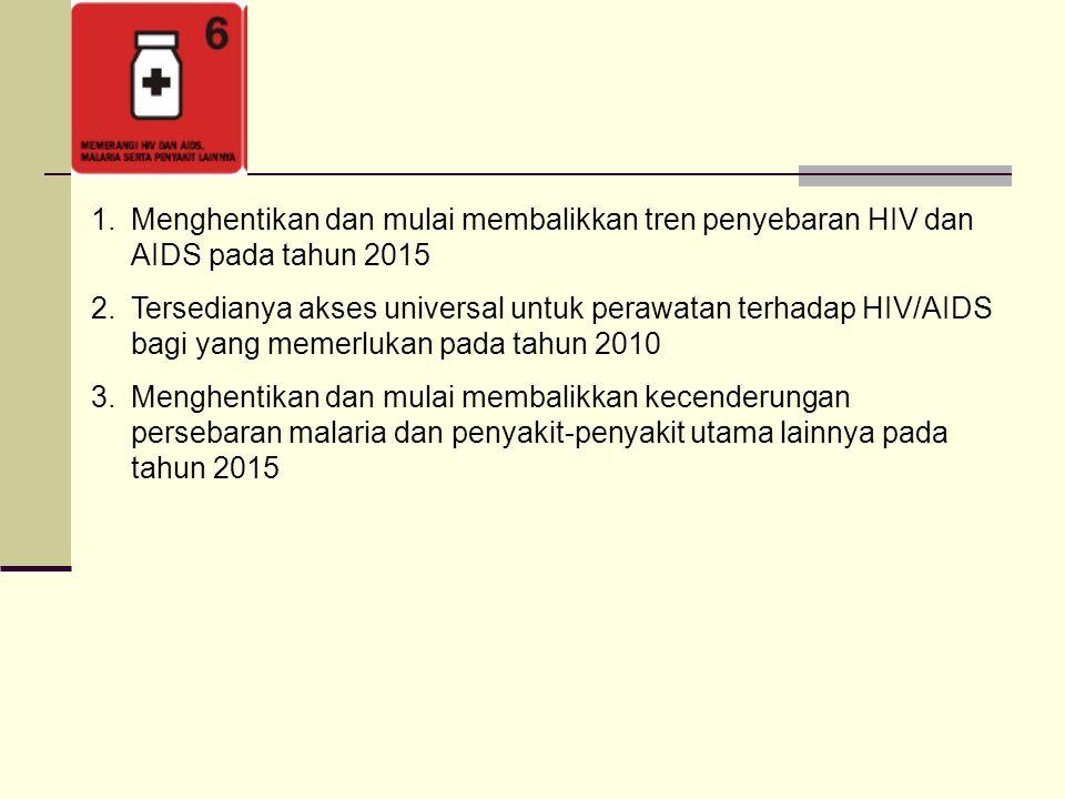 1.Menghentikan dan mulai membalikkan tren penyebaran HIV dan AIDS pada tahun 2015 2.Tersedianya akses universal untuk perawatan terhadap HIV/AIDS bagi yang memerlukan pada tahun 2010 3.Menghentikan dan mulai membalikkan kecenderungan persebaran malaria dan penyakit-penyakit utama lainnya pada tahun 2015
