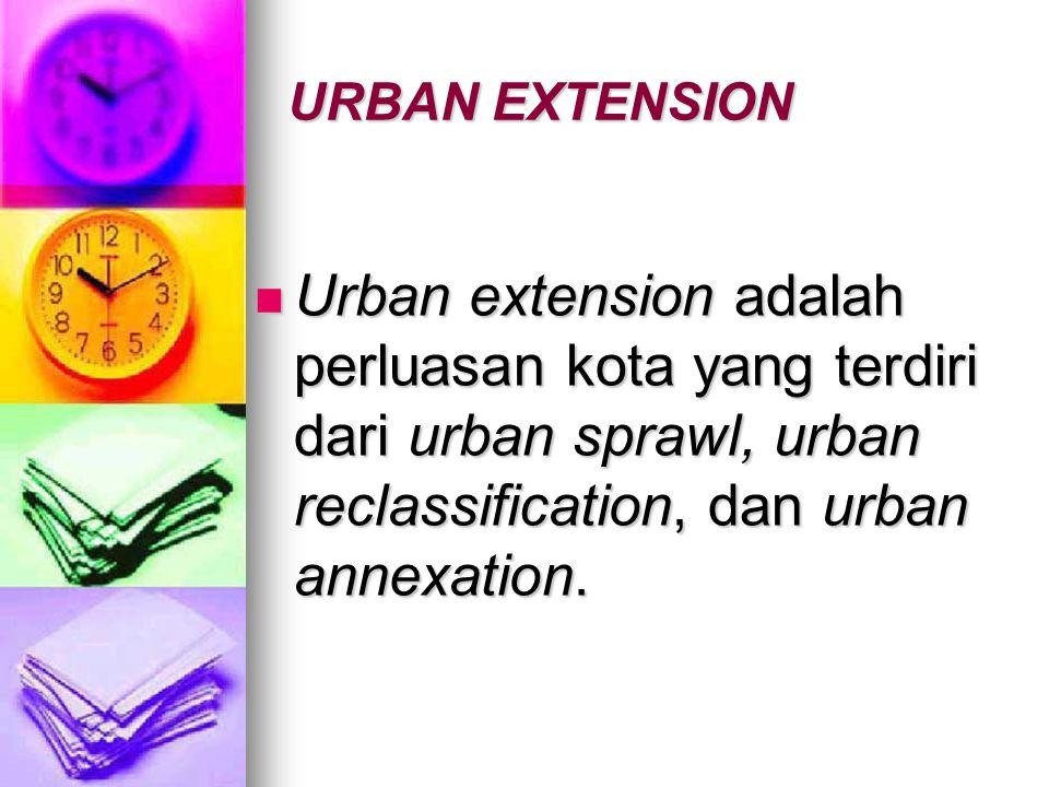 Urban extension adalah perluasan kota yang terdiri dari urban sprawl, urban reclassification, dan urban annexation.