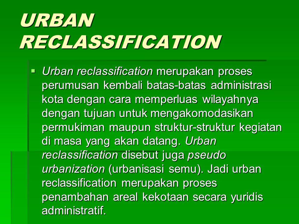 URBAN RECLASSIFICATION  Urban reclassification merupakan proses perumusan kembali batas-batas administrasi kota dengan cara memperluas wilayahnya dengan tujuan untuk mengakomodasikan permukiman maupun struktur-struktur kegiatan di masa yang akan datang.