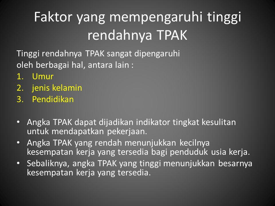 Faktor yang mempengaruhi tinggi rendahnya TPAK Tinggi rendahnya TPAK sangat dipengaruhi oleh berbagai hal, antara lain : 1.Umur 2.jenis kelamin 3.Pend