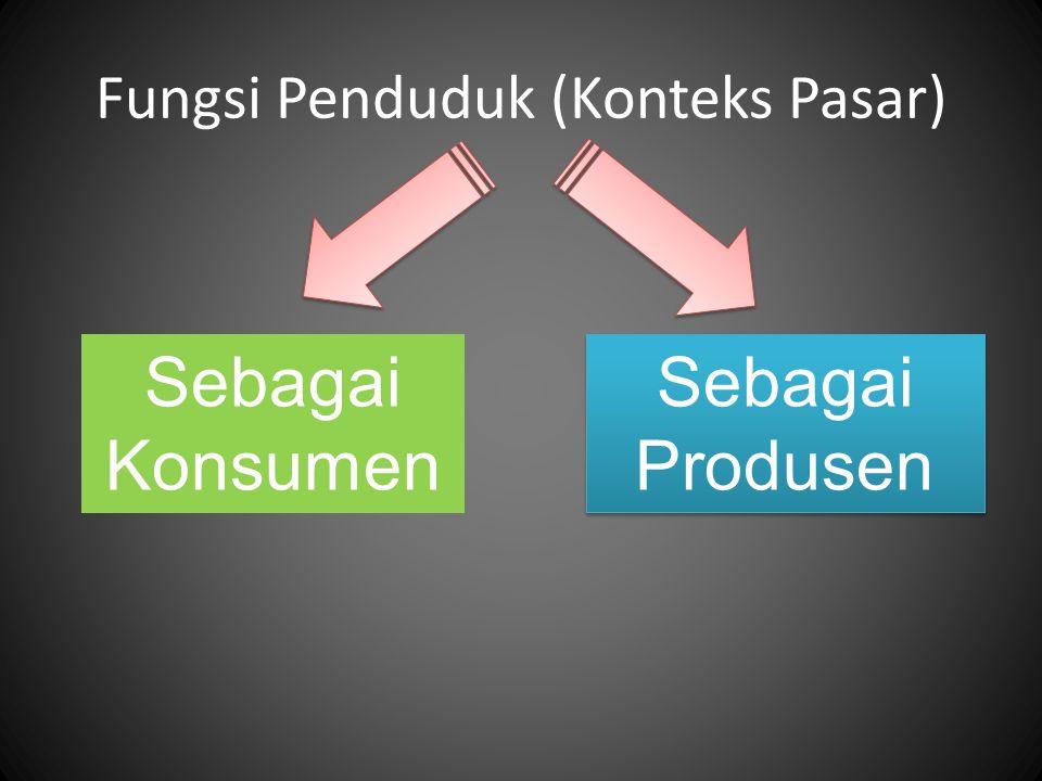 Fungsi Penduduk (Konteks Pasar) Sebagai Konsumen Sebagai Produsen