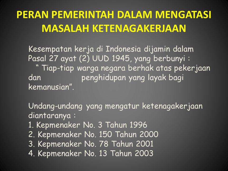 """PERAN PEMERINTAH DALAM MENGATASI MASALAH KETENAGAKERJAAN Kesempatan kerja di Indonesia dijamin dalam Pasal 27 ayat (2) UUD 1945, yang berbunyi : """" Tia"""