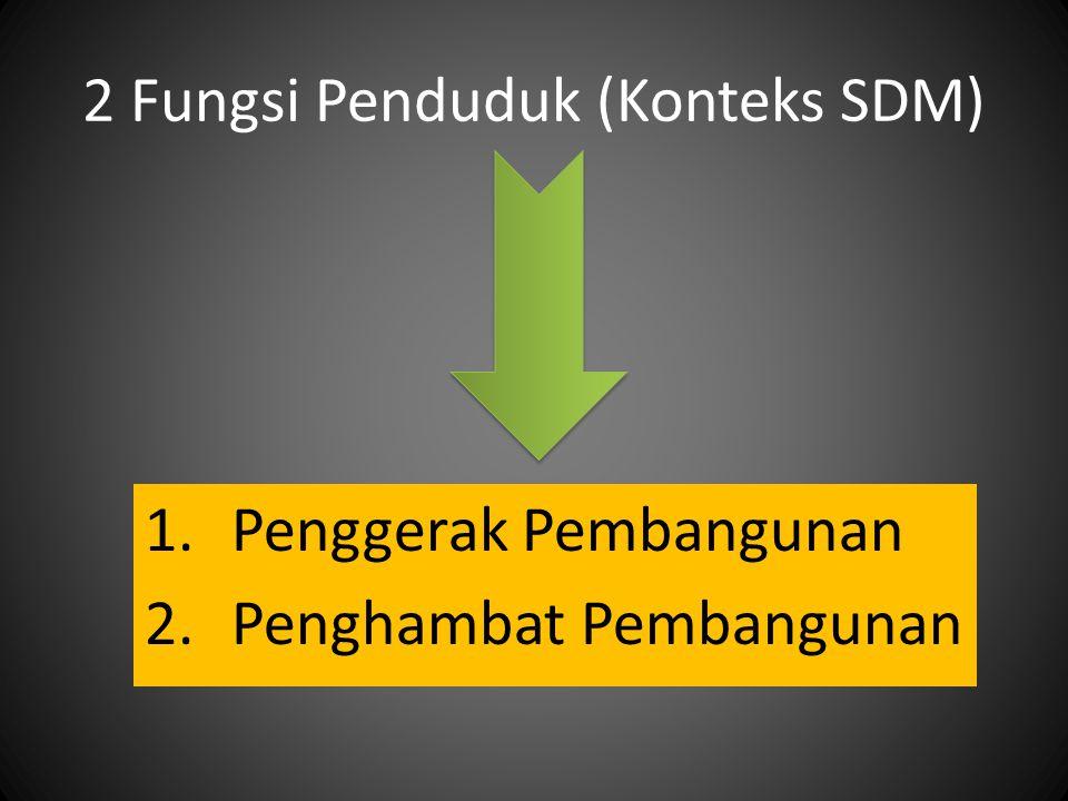 2 Fungsi Penduduk (Konteks SDM) 1.Penggerak Pembangunan 2.Penghambat Pembangunan