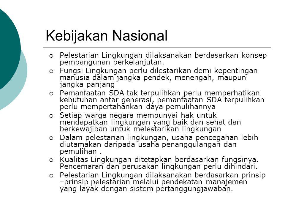 Peraturan yang Mendukung  UU No.23 Th. 1997 tentang Pengelolaan Lingkungan Hidup  UU No.