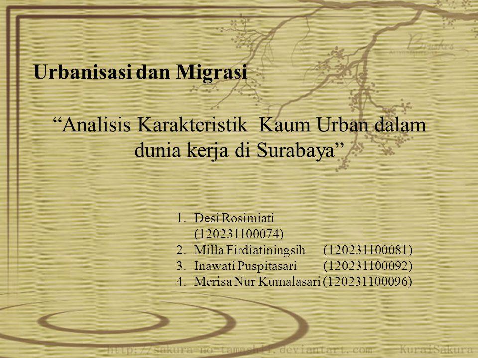 """Analisis Karakteristik Kaum Urban dalam dunia kerja di Surabaya"" Urbanisasi dan Migrasi 1.Desi Rosimiati (120231100074) 2.Milla Firdiatiningsih (1202"