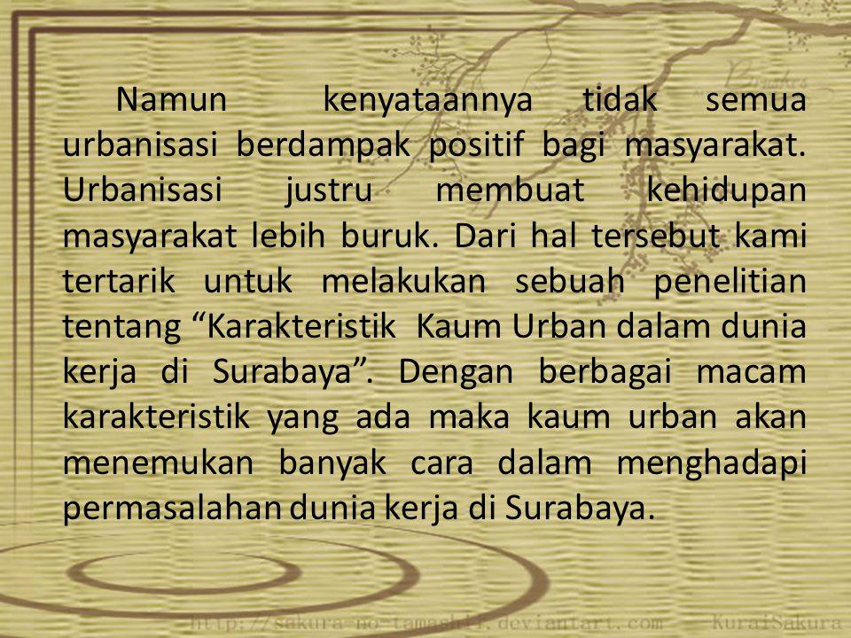 Tujuan Dan Manfaat Penelitian Tujuan Meneliti seberapa tinggi tingkat adaptasi penduduk urban dalam dunia kerja di kota Surabaya Manfaat Mengetahui tingkat adaptasi kaum penduduk urban dalam menghadapi dunia kerja di Surabaya