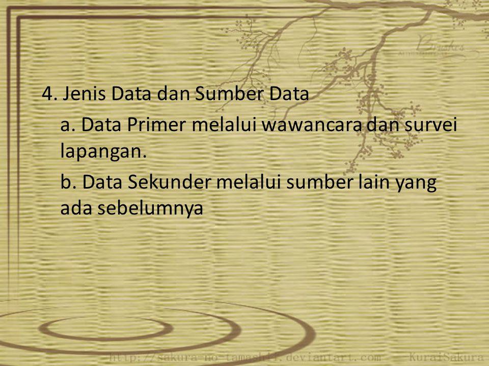 4. Jenis Data dan Sumber Data a. Data Primer melalui wawancara dan survei lapangan. b. Data Sekunder melalui sumber lain yang ada sebelumnya