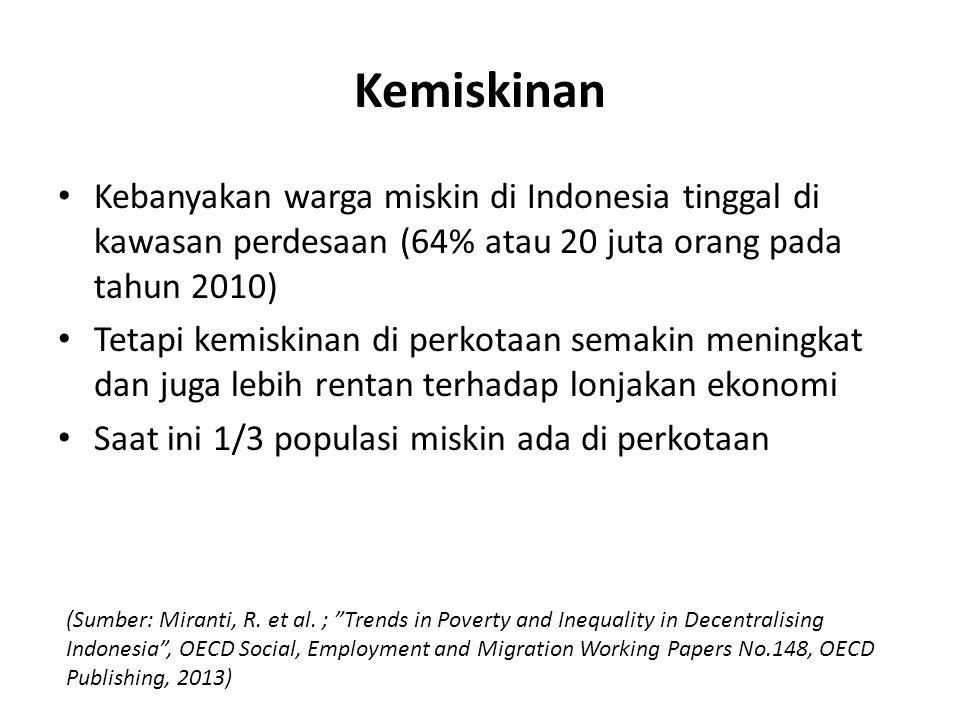Kemiskinan Kebanyakan warga miskin di Indonesia tinggal di kawasan perdesaan (64% atau 20 juta orang pada tahun 2010) Tetapi kemiskinan di perkotaan s