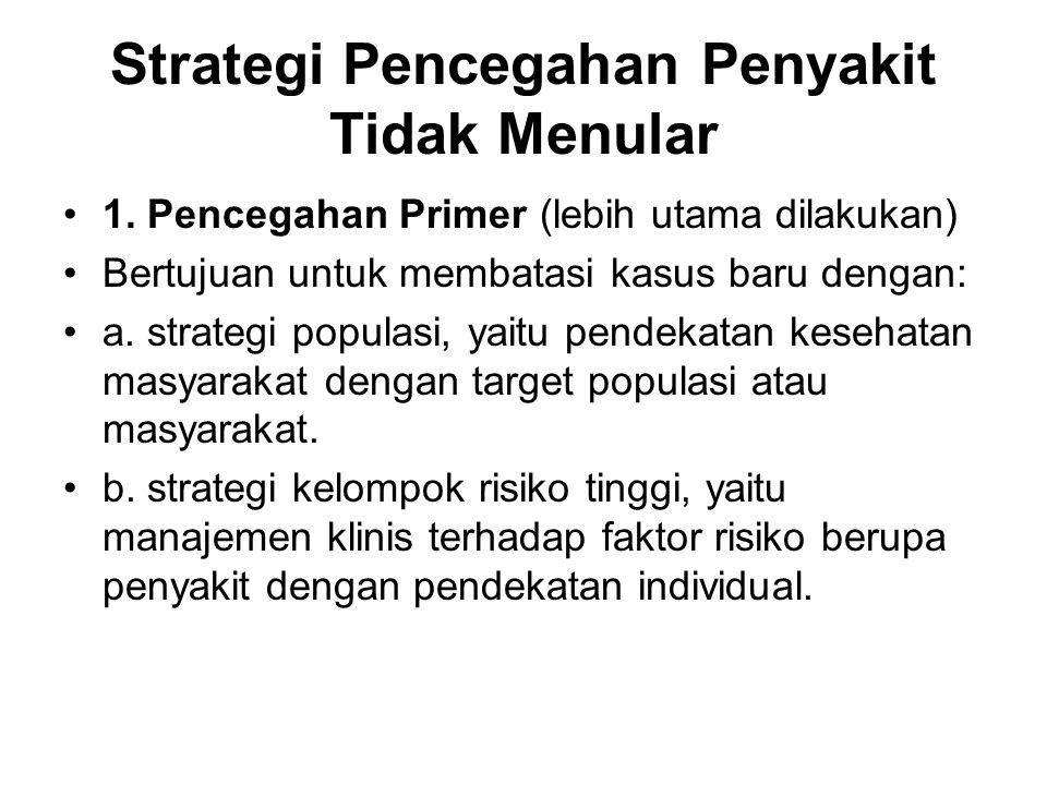 Strategi Pencegahan Penyakit Tidak Menular 1. Pencegahan Primer (lebih utama dilakukan) Bertujuan untuk membatasi kasus baru dengan: a. strategi popul