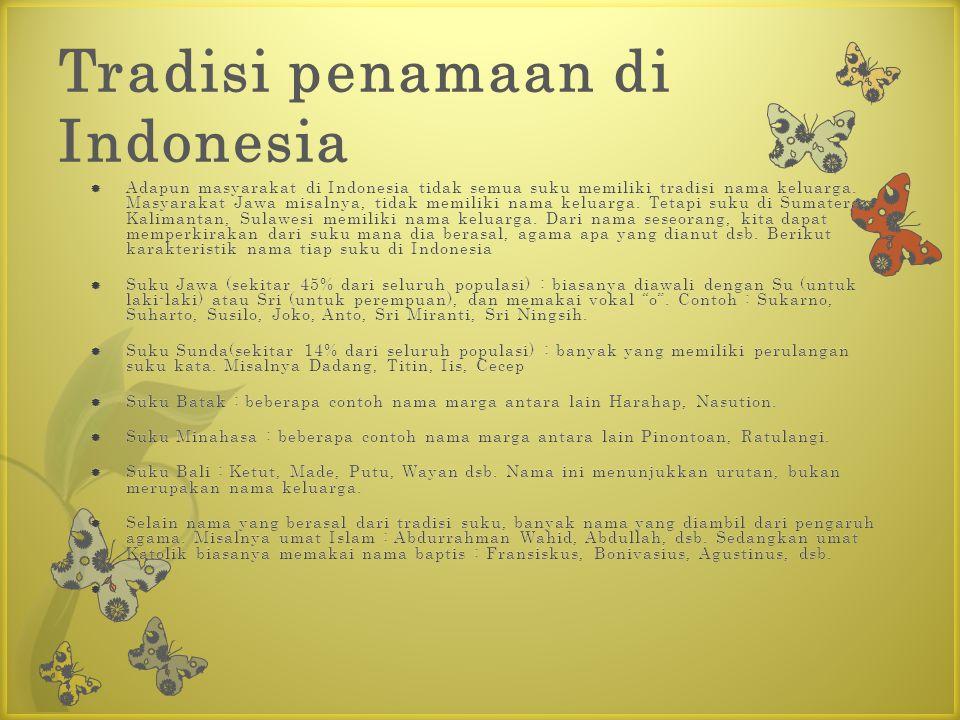 Tradisi penamaan di Indonesia