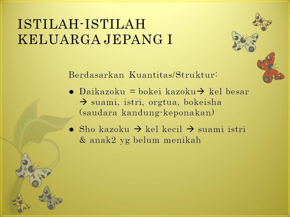 ISTILAH-ISTILAH KELUARGA JEPANG I