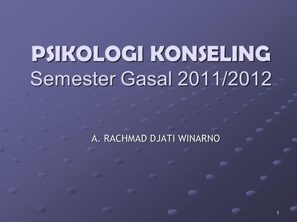 1 PSIKOLOGI KONSELING Semester Gasal 2011/2012 A. RACHMAD DJATI WINARNO