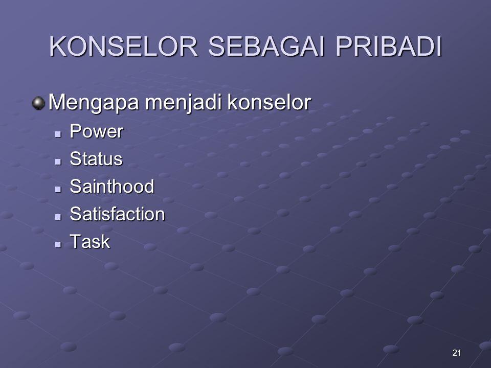 21 KONSELOR SEBAGAI PRIBADI Mengapa menjadi konselor Power Power Status Status Sainthood Sainthood Satisfaction Satisfaction Task Task