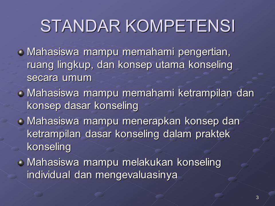 3 STANDAR KOMPETENSI Mahasiswa mampu memahami pengertian, ruang lingkup, dan konsep utama konseling secara umum Mahasiswa mampu memahami ketrampilan d