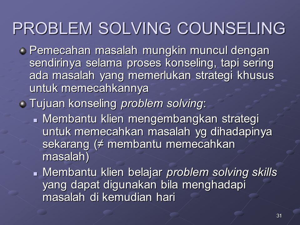 PROBLEM SOLVING COUNSELING Pemecahan masalah mungkin muncul dengan sendirinya selama proses konseling, tapi sering ada masalah yang memerlukan strateg