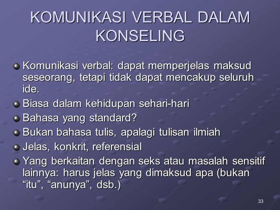 33 KOMUNIKASI VERBAL DALAM KONSELING Komunikasi verbal: dapat memperjelas maksud seseorang, tetapi tidak dapat mencakup seluruh ide. Biasa dalam kehid