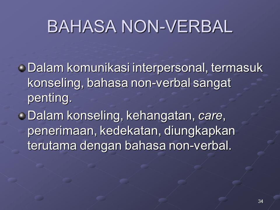 34 BAHASA NON-VERBAL Dalam komunikasi interpersonal, termasuk konseling, bahasa non-verbal sangat penting. Dalam konseling, kehangatan, care, penerima