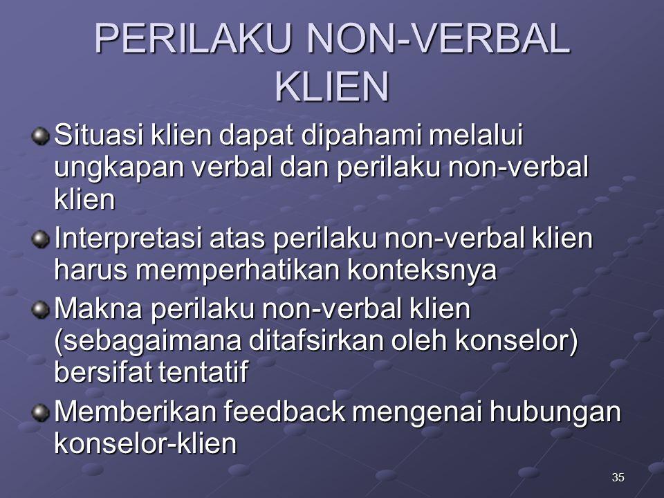 35 PERILAKU NON-VERBAL KLIEN Situasi klien dapat dipahami melalui ungkapan verbal dan perilaku non-verbal klien Interpretasi atas perilaku non-verbal