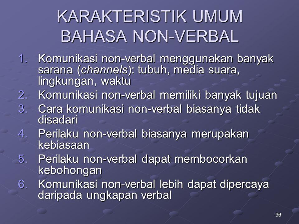 36 KARAKTERISTIK UMUM BAHASA NON-VERBAL 1.Komunikasi non-verbal menggunakan banyak sarana (channels): tubuh, media suara, lingkungan, waktu 2.Komunika