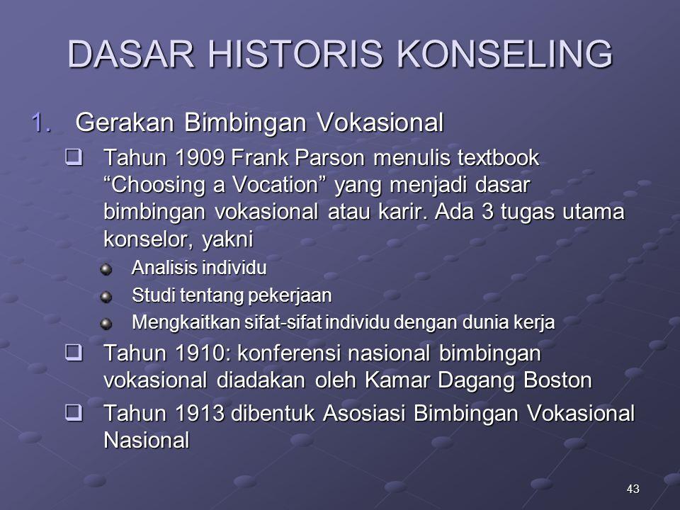 """43 DASAR HISTORIS KONSELING 1.Gerakan Bimbingan Vokasional  Tahun 1909 Frank Parson menulis textbook """"Choosing a Vocation"""" yang menjadi dasar bimbing"""