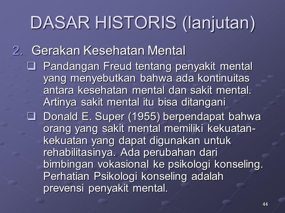 44 DASAR HISTORIS (lanjutan) 2.Gerakan Kesehatan Mental  Pandangan Freud tentang penyakit mental yang menyebutkan bahwa ada kontinuitas antara keseha