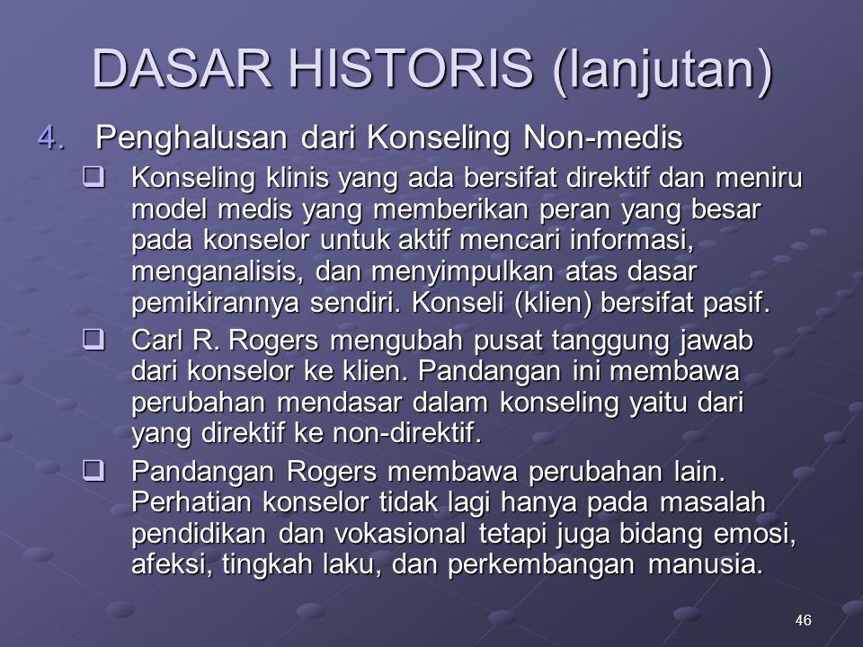 46 DASAR HISTORIS (lanjutan) 4.Penghalusan dari Konseling Non-medis  Konseling klinis yang ada bersifat direktif dan meniru model medis yang memberik