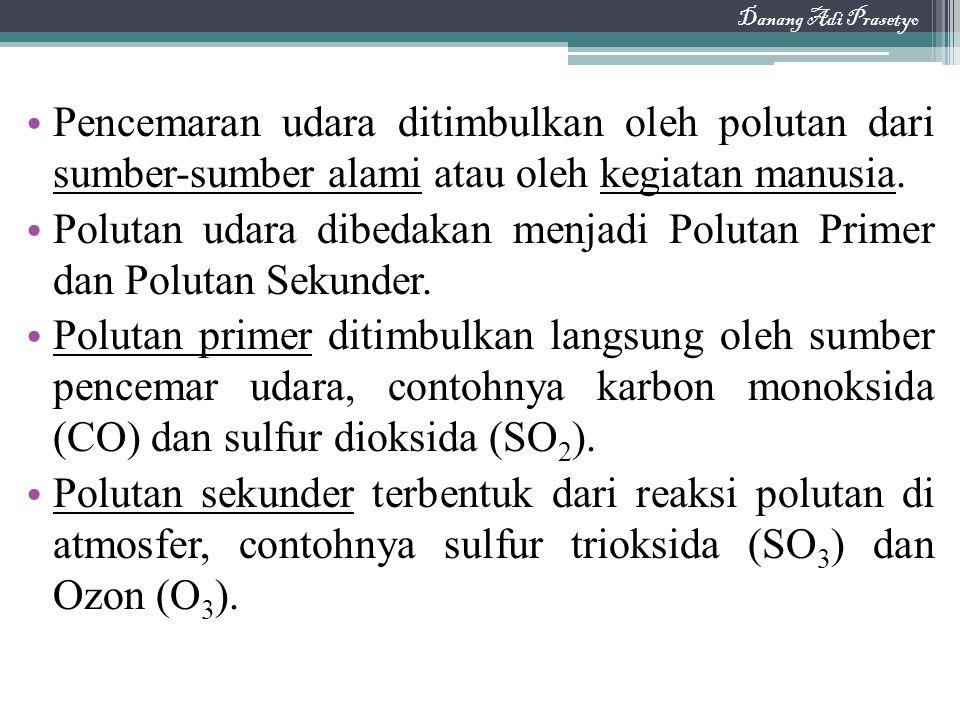 Pencemaran udara ditimbulkan oleh polutan dari sumber-sumber alami atau oleh kegiatan manusia. Polutan udara dibedakan menjadi Polutan Primer dan Polu