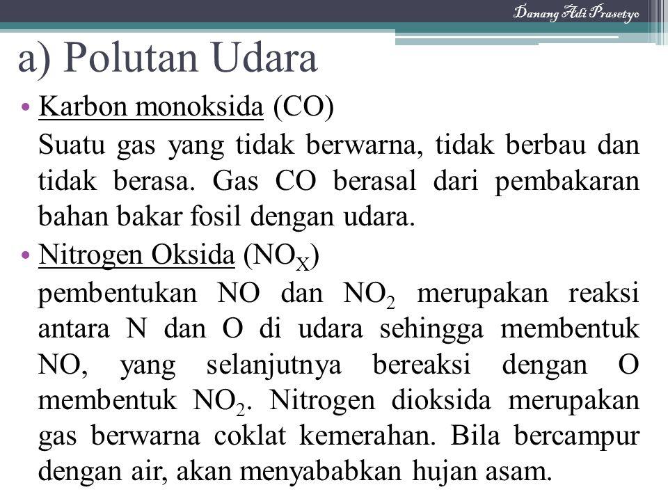 a) Polutan Udara Karbon monoksida (CO) Suatu gas yang tidak berwarna, tidak berbau dan tidak berasa. Gas CO berasal dari pembakaran bahan bakar fosil