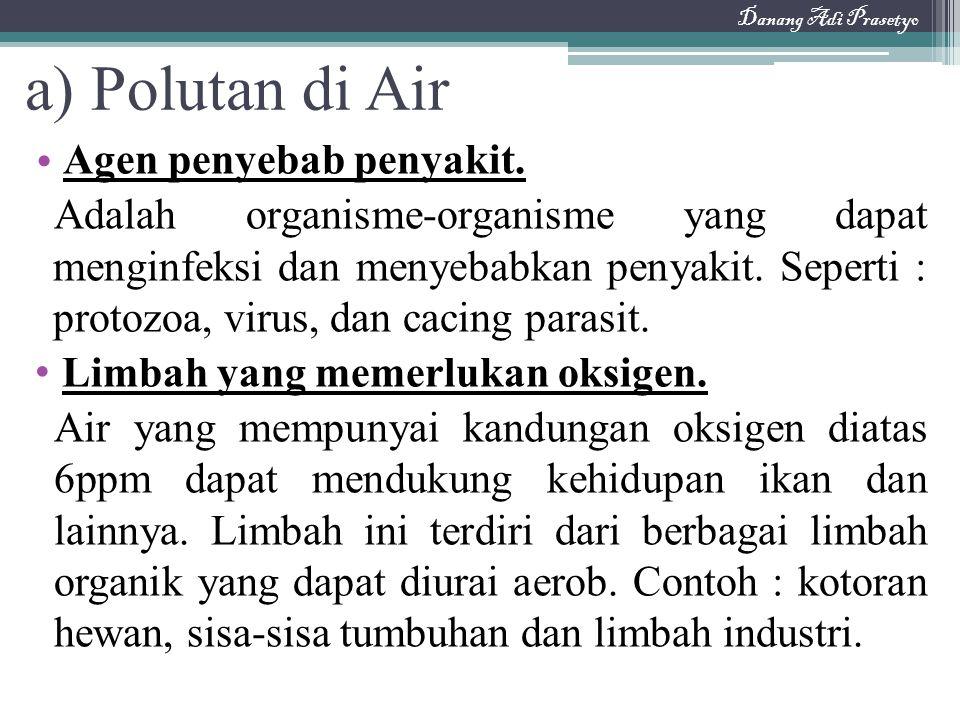 a) Polutan di Air Agen penyebab penyakit. Adalah organisme-organisme yang dapat menginfeksi dan menyebabkan penyakit. Seperti : protozoa, virus, dan c