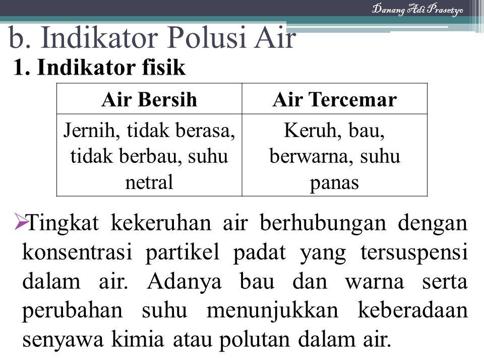 1. Indikator fisik  Tingkat kekeruhan air berhubungan dengan konsentrasi partikel padat yang tersuspensi dalam air. Adanya bau dan warna serta peruba