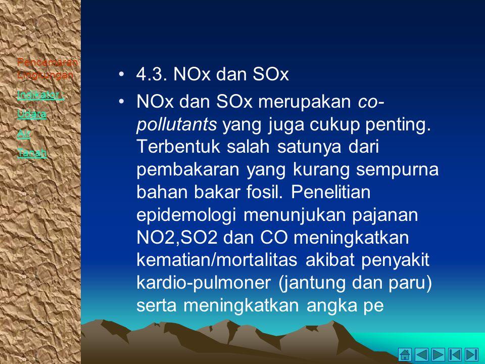 Pencemaran Lingkungan Indikator : Udara Air Tanah 4.3. NOx dan SOx NOx dan SOx merupakan co- pollutants yang juga cukup penting. Terbentuk salah satun