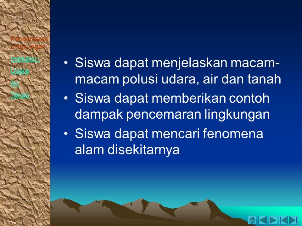 Pencemaran Lingkungan Indikator : Udara Air Tanah Siswa dapat menjelaskan macam- macam polusi udara, air dan tanah Siswa dapat memberikan contoh dampa