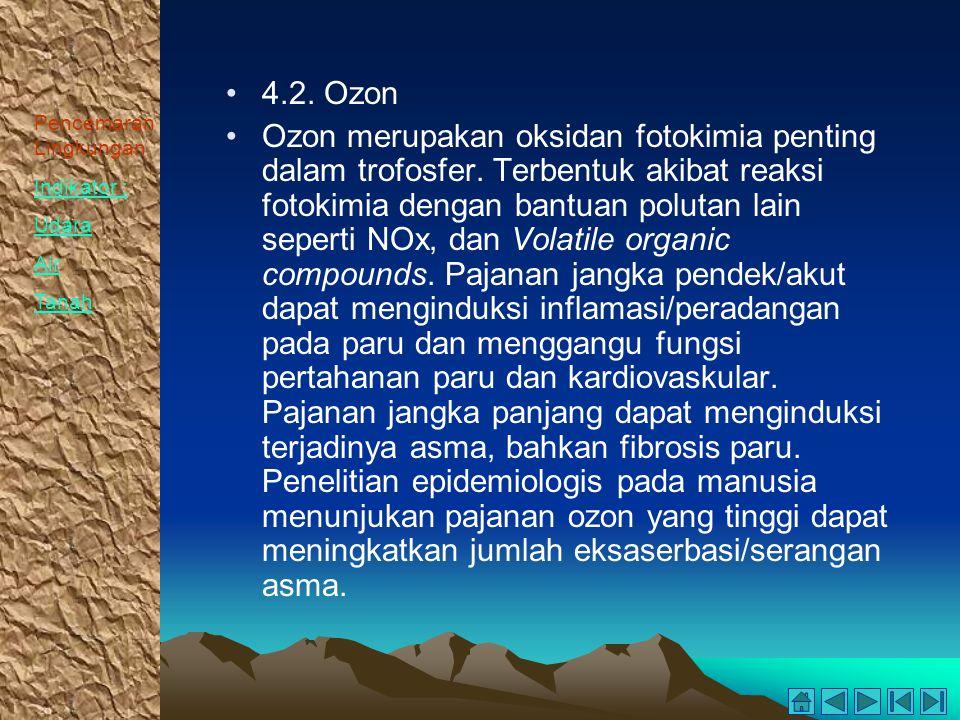 Pencemaran Lingkungan Indikator : Udara Air Tanah 4.2. Ozon Ozon merupakan oksidan fotokimia penting dalam trofosfer. Terbentuk akibat reaksi fotokimi