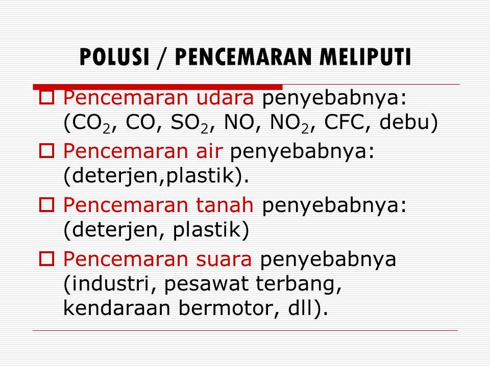 PENYEBAB PENCEMARAN TANAH  Kegiatan pertanian (pupuk buatan, herbisida, insectisida).