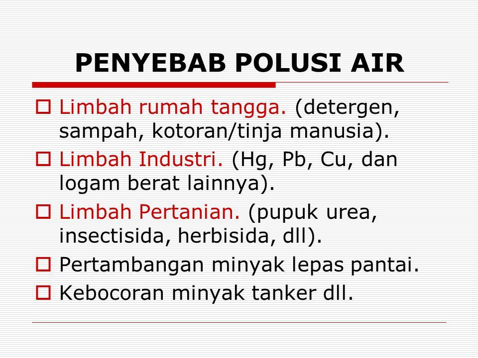 PENYEBAB POLUSI AIR  Limbah rumah tangga. (detergen, sampah, kotoran/tinja manusia).  Limbah Industri. (Hg, Pb, Cu, dan logam berat lainnya).  Limb