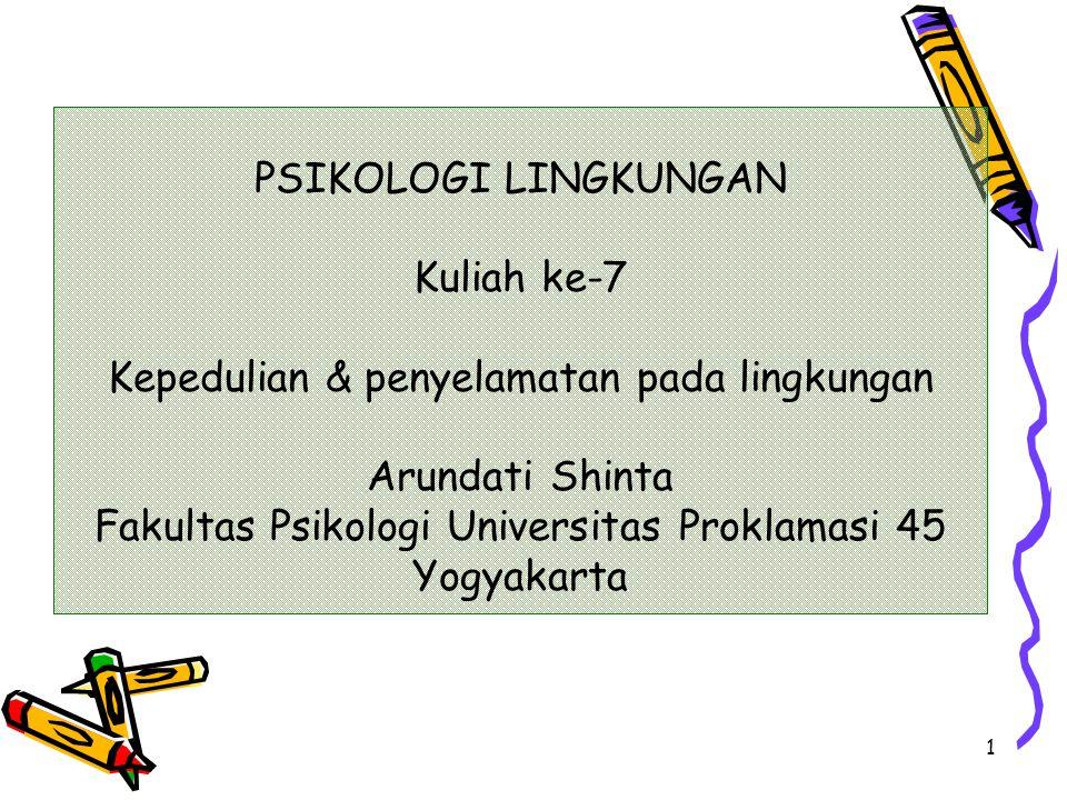 1 PSIKOLOGI LINGKUNGAN Kuliah ke-7 Kepedulian & penyelamatan pada lingkungan Arundati Shinta Fakultas Psikologi Universitas Proklamasi 45 Yogyakarta