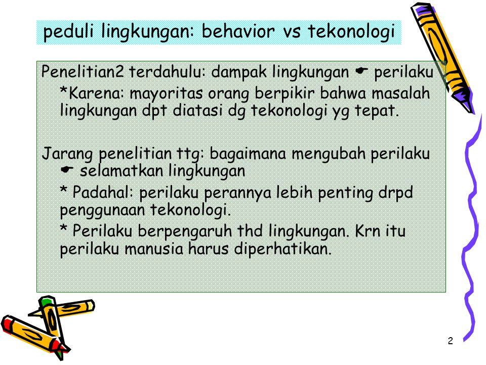 2 peduli lingkungan: behavior vs tekonologi Penelitian2 terdahulu: dampak lingkungan  perilaku *Karena: mayoritas orang berpikir bahwa masalah lingku