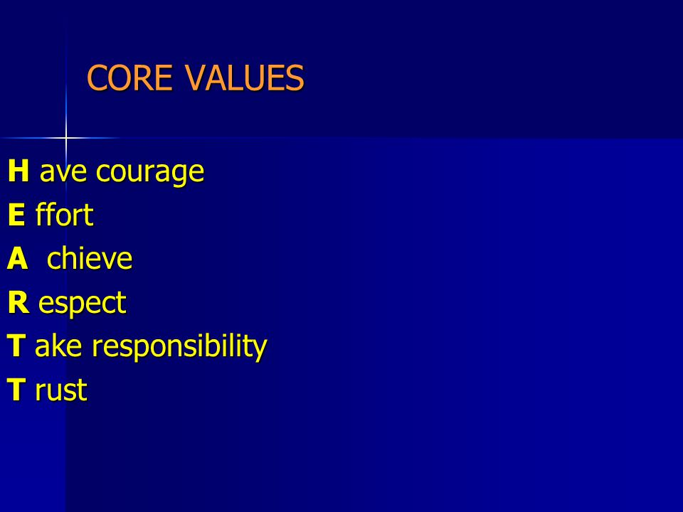 CORE VALUES H ave courage E ffort A chieve R espect T ake responsibility T rust