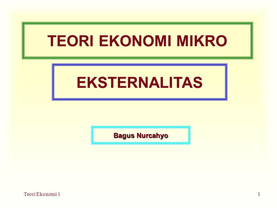 Teori Ekonomi 11 TEORI EKONOMI MIKRO EKSTERNALITAS Bagus Nurcahyo
