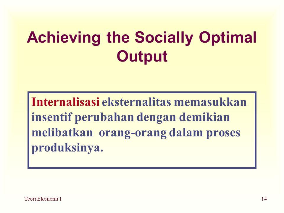 Teori Ekonomi 114 Achieving the Socially Optimal Output Internalisasi eksternalitas memasukkan insentif perubahan dengan demikian melibatkan orang-orang dalam proses produksinya.