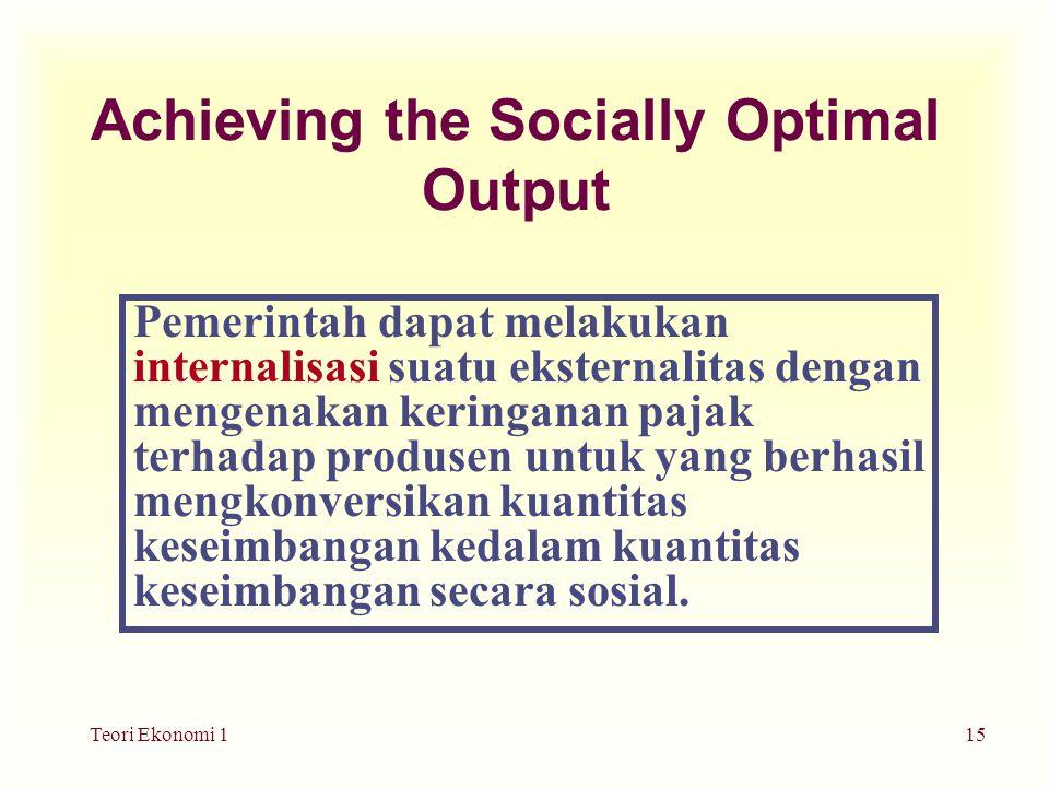 Teori Ekonomi 115 Achieving the Socially Optimal Output Pemerintah dapat melakukan internalisasi suatu eksternalitas dengan mengenakan keringanan pajak terhadap produsen untuk yang berhasil mengkonversikan kuantitas keseimbangan kedalam kuantitas keseimbangan secara sosial.