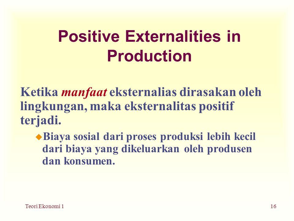 Teori Ekonomi 116 Positive Externalities in Production Ketika manfaat eksternalias dirasakan oleh lingkungan, maka eksternalitas positif terjadi.