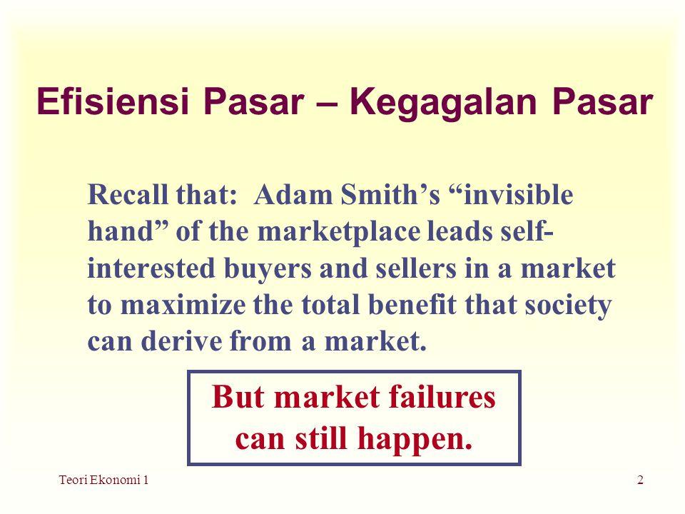 Teori Ekonomi 13 Kegagalan Pasar: Eksternalitas u Ketika outcome dari suatu pasar lebih mempengaruhi pihak lain daripada pembeli dan penjual yang ada dalam pasar, side-effects yang ditimbulkan disebut eksternalitas.
